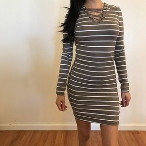 Dresses & Skirts - 🆕 Taupe Lace Up Front Striped Mini Dress